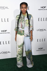 Yara Shahidi played the matching game with this Stella McCartney print pants and blouse ensemble.