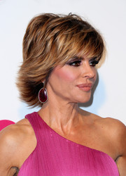 Lisa Rinna sported a piecey razor cut at the 2015 Elton John AIDS Foundation Oscar-viewing party.