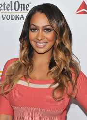 La La Anthony wore her hair in long waves with shiny golden highlights at the 23rd Annual GLAAD Media Awards.