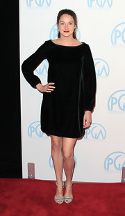 Shailene Woodley wore a short velvet cocktail dress to the Producers Guild Awards.