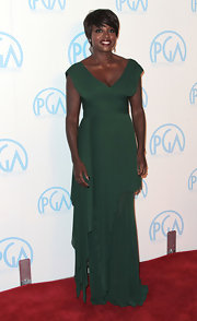 Viola Davis looked divine in an emerald chiffon gown at the Producers Guild Awards.