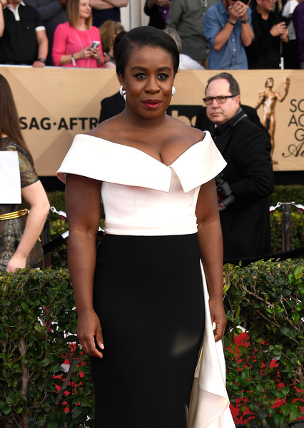 More Pics of Uzo Aduba Off-the-Shoulder Dress (1 of 7) - Dresses & Skirts Lookbook - StyleBistro [red carpet,clothing,carpet,dress,shoulder,fashion,flooring,beauty,hairstyle,premiere,arrivals,uzo aduba,screen actors guild awards,los angeles,california,the shrine auditorium]