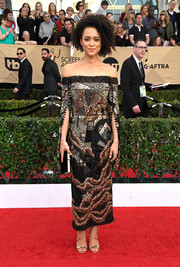 Nathalie Emmanuel dazzled in a patchwork-beaded off-the-shoulder dress by J. Mendel Couture at the SAG Awards.