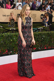 Teresa Palmer sparkled on the SAG Awards red carpet in a beaded column dress by Valentino.