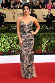 Gina Rodriguez made a stylish entrance at the SAG Awards wearing this beaded slip dress by Patricia Bonaldi.