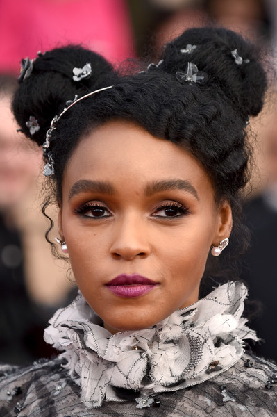 Janelle Monae wore her signature pigtail buns at the SAG Awards.