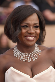 Viola Davis went for an ultra-glam finish with a diamond chandelier necklace by Nirav Modi.