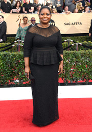 Octavia Spencer was the picture of refined elegance in a sheer-panel black peplum gown by Tadashi Shoji at the SAG Awards.