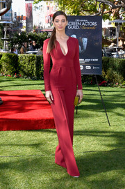Angela Sarafyan looked impeccable in a plunging red jumpsuit by Rhea Costa at the SAG Awards Greet the Actor event.