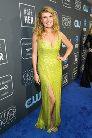 Connie Britton brightened up the blue carpet with this chartreuse sequined gown by Galvan at the 2019 Critics' Choice Awards.