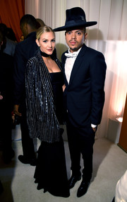 Ashlee Simpson rocked an oversized striped sequin jacket at the Elton John AIDS Foundation Oscar viewing party.
