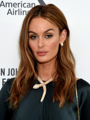 Nicole Trunfio sported a casual center-parted 'do at the Elton John AIDS Foundation Oscar viewing party.