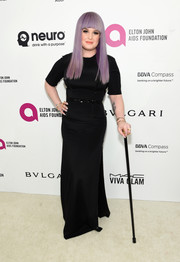 Kelly Osbourne opted for a simple black column dress when she attended the Elton John AIDS Foundation Oscar viewing party.