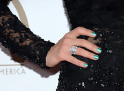 Jessica's mermaid-green metallic nails gave her sequin-and-lace dress a fun vibe.