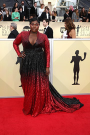 Danielle Brooks looked gorgeous in a low-cut ombre sequin gown by Marc Bouwer at the 2018 SAG Awards.