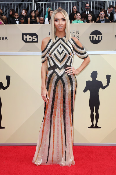 Giuliana Rancic went for modern glamour in a geometric-beaded cold-shoulder gown by Steven Khalil Couture at the 2018 SAG Awards.