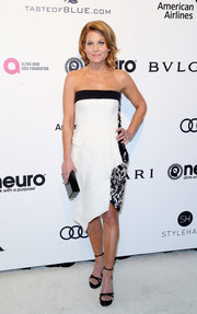 Candace Cameron Bure went breezy in a monochrome strapless dress with an asymmetrical hem during the Elton John AIDS Foundation Oscar-viewing party.