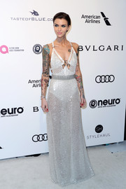 Ruby Rose oozed major sex appeal wearing this sheer, embellished white gown by Julien Macdonald at the Elton John AIDS Foundation Oscar-viewing party.