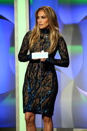 Jennifer Lopez looked as foxy as ever at the GLAAD Media Awards in a sheer-illusion Zuhair Murad dress with branch-patterned beading.