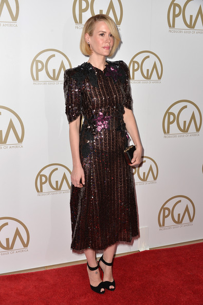 More Pics of Sarah Paulson Bob (4 of 16) - Short Hairstyles Lookbook - StyleBistro [red carpet,clothing,carpet,dress,hairstyle,fashion,flooring,cocktail dress,footwear,fashion model,arrivals,sarah paulson,beverly hills,california,the beverly hilton hotel,25th annual producers guild of america awards,producers guild of america awards]