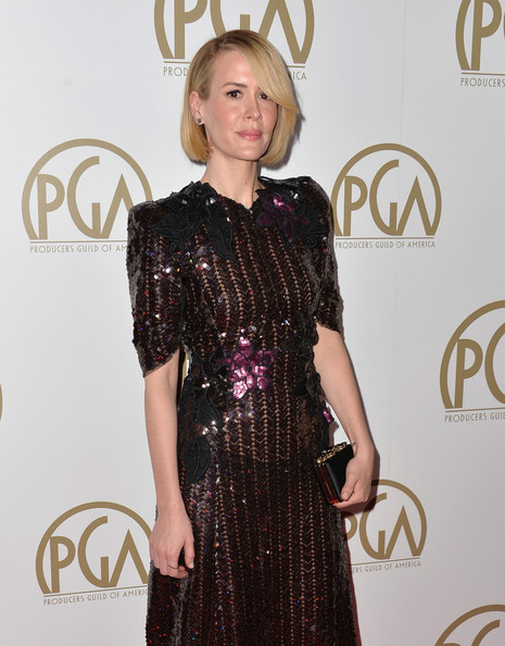 More Pics of Sarah Paulson Bob (3 of 16) - Short Hairstyles Lookbook - StyleBistro [clothing,dress,hairstyle,fashion,red carpet,fashion model,carpet,cocktail dress,long hair,flooring,arrivals,sarah paulson,beverly hills,california,the beverly hilton hotel,25th annual producers guild of america awards,producers guild of america awards]