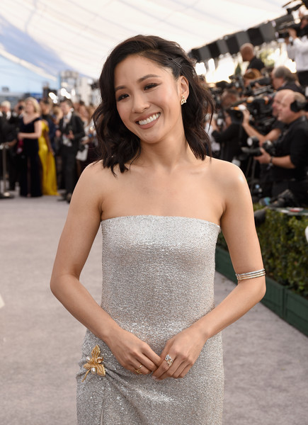 More Pics of Constance Wu Strapless Dress (5 of 5) - Dresses & Skirts Lookbook - StyleBistro [red carpet,hair,face,dress,clothing,facial expression,strapless dress,premiere,beauty,gown,hairstyle,constance wu,screen actors guild awards,screen actors\u00e2 guild awards,california,los angeles,the shrine auditorium]