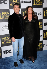 Keely Shaye Smith's beaded black halter gown was a sultry but stylish choice for the 25th Film Independent Spirit Awards.