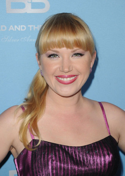 Adrienne Frantz attended the 25th Anniversary Party wearing her hair in a sleek ponytail with lash-grazing bangs.