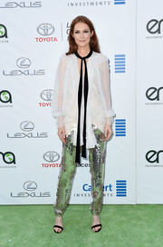 Darby Stanchfield was boho up top in a flowy white ruffle blouse by Chloe at the EMA Awards.
