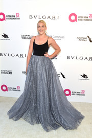 Busy Philipps looked ultra glam in a black and silver Christian Siriano ball gown at the Elton John AIDS Foundation Oscar-viewing party.