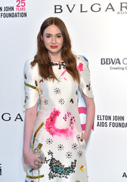Karen Gillan accessorized with a gorgeous crystal clutch by Judith Leiber at the Elton John AIDS Foundation Oscar-viewing party.