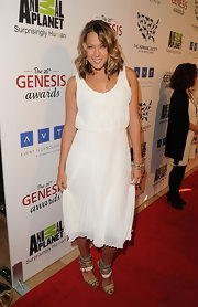 Colbie Caillat went for a summer look in this white pleated number at the Genesis Awards.