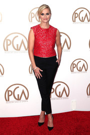 Reese Witherspoon chose a gorgeous red embellished top for the 26th Annual Producers Guild Of America Awards.