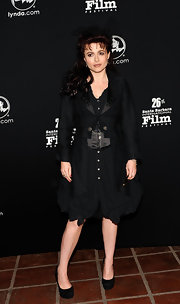 Helena dons a sleek fitting jacket over her black evening dress at the Santa Barbara International Film Festival.