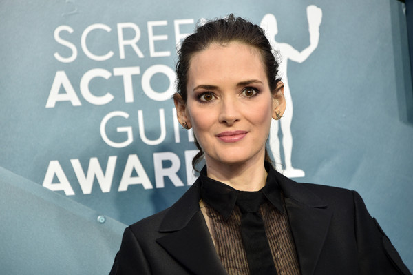More Pics of Winona Ryder Fitted Jacket (1 of 7) - Winona Ryder Lookbook - StyleBistro [hair,eyebrow,hairstyle,forehead,white-collar worker,fashion,lip,suit,smile,premiere,arrivals,winona ryder,screen actors guild awards,screen actors\u00e2 guild awards,the shrine auditorium,los angeles,california,winona ryder,shrine auditorium and expo hall,celebrity,screen actors guild awards,fashion,hair m,sag-aftra,stx it20 risk.5rv nr eo,socialite]