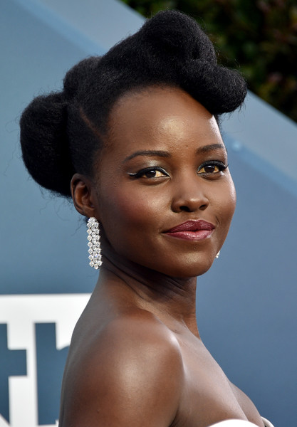 Lupita Nyong'o rocked a sculpted updo at the 2020 SAG Awards.