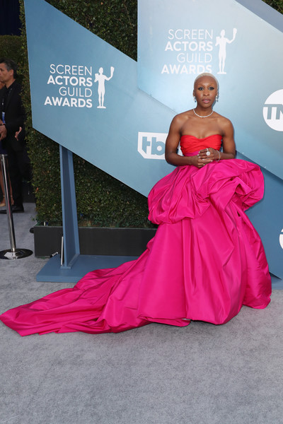 More Pics of Cynthia Erivo Strapless Dress (1 of 15) - Cynthia Erivo Lookbook - StyleBistro [red carpet,dress,carpet,pink,clothing,red,gown,fashion,shoulder,magenta,arrivals,cynthia erivo,screen actors guild awards,the shrine auditorium,los angeles,california,shrine auditorium and expo hall,sarah hyland,red carpet,25th screen actors guild awards,hollywood,celebrity,actor,winona ryder,icloud leaks of celebrity photos,screen actors guild]