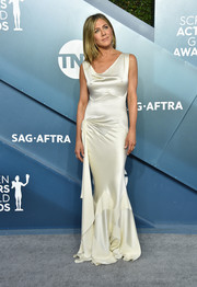 Jennifer Aniston opted for a slinky white satin gown by Dior when she attended the 2020 SAG Awards.