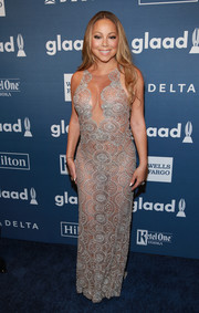 Mariah Carey left little to the imagination in this sheer-embellished gown by Mark Zunino at the GLAAD Media Awards.
