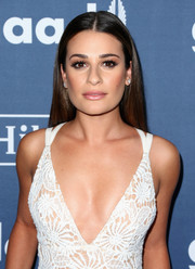 Lea Michele opted for her usual straight center-parted style when she attended the GLAAD Media Awards.