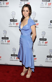 Cristin Milioti stepped onto the red carpet at the Lucille Lortel Awards wearing tall beige T-straps.