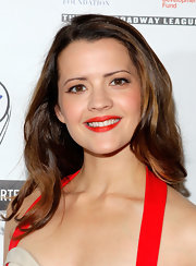 Rose Hemingway styled her shiny tresses with a sexy side part for the Lucille Lortel Awards.