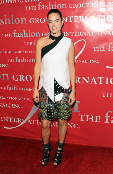 Balenciago brand ambassador, Jennifer Connelly, hit the red carpet in a pair of the designer's intricate gladiator heels. The wild heels feature gray suede wrapped around black snakeskin.