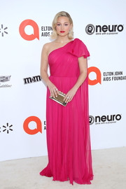 Olivia Holt looked regal in a fuchsia one-shoulder gown by J. Mendel at the 2020 Elton John AIDS Foundation Oscar-viewing party.