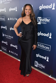 Garcelle Beauvais went the sultry route in a one-sleeve silk gown with ruffle detailing when she attended the GLAAD Media Awards.