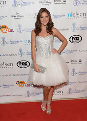 Brittany chose this flared tulle dress with silver sequins on the bodice for her princess-eque look on the red carpet.