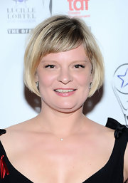 Martha Plimpton styled her hair in a youthful short cut with baby bangs for the Lucille Lortel Awards.