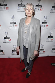 Vanessa Redgrave topped off her print blouse and slacks combo with a sophisticated gray evening coat when she attended the Lucille Lortel Awards.