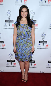 America Ferrera looked very girly in her cap-sleeve floral dress at the Lucille Lortel Awards.