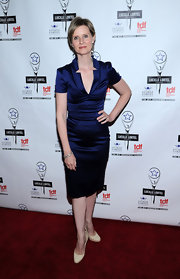 Cynthia Nixon sported a strong yet feminine silhouette at the Lucille Lortel Awards in a navy deep-V cocktail dress.